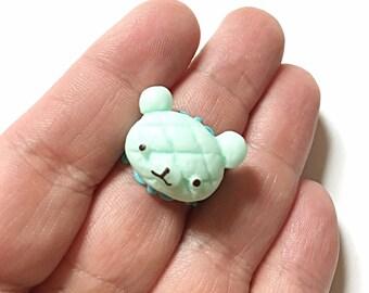 Mint green kawaii bear ring