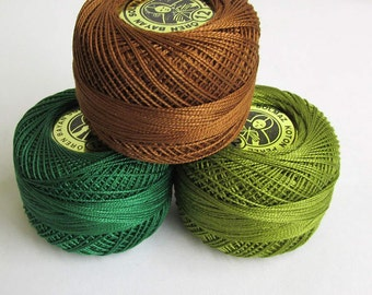 Cotton thread Perle 12, pearl cotton, embroidery thread, crochet thread, 3pc., choose 1 color or take all 3 (3)