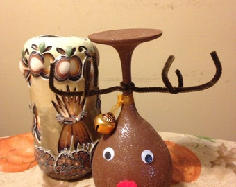 Rudolph Wine Glass Candle Holder