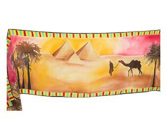 Silk scarf with Egyptian pyramids- Egyptian scarf- hand painted scarf- Warm colors Silk Scarf- Womens fall scarf- Love Egypt silk scarf