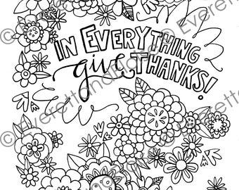"Digital Download ""Give Thanks"" Coloring Page"