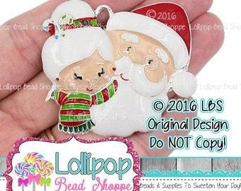 Mr & Mrs Claus Pendant, Santa Claus Charm, Christmas Pendant, Custom LBS Original Design, Chunky Bubblegum Pendant, Enamel Silver EAP6