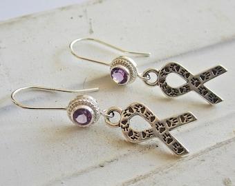 Amethyst Animal Awareness Sterling Silver Earrings