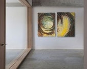 Abstract painting brown and yellow, modern minimalist large canvas art 2 x 100/70cm (140/100cm). Free shipping. Nest.