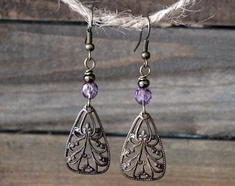 Purple Brass Dangle Earrings / Purple Jewelry / Purple Earrings / Brass Dangle Earrings