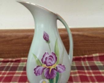 Vintage Pitcher Vase with Irises ~ Vintage Home Decor