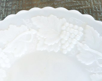 Imperial Milk Glass Plates with a Raised Grape Design