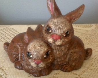 Small Garden Bunnies Ceramic