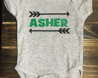 Baby Name with Arrows Onesie, personalized gift