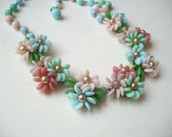 Vintage West Germany glass necklace, West German flower necklace, pastel glass flower, dimensional glass, adjustable glass choker, wedding