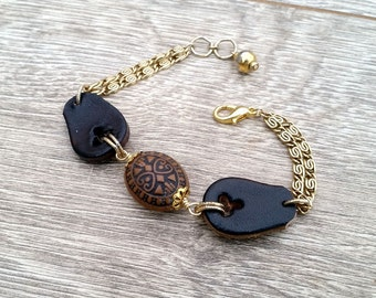 Deputized- Recycled Scrap Leather Vintage Bead Chain Bracelet