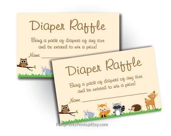 Woodland Animals Diaper Raffle Baby Shower Invitation Insert - Printable Instant Download - Raffel Ticket