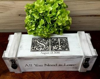 Wine Box, Wedding Wine Box, Wedding Gift, Custom Wine Box, Rustic Wine Box, Wine Box Ceremony