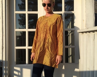 Mossy Gold Silk Oversize Blouse