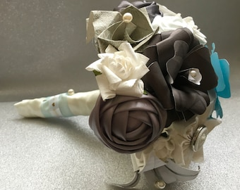 Paper flower Blue, silver and grey Bridesmaid Bouquet, Wedding Flowers