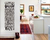 Personalized Family Rules Sign, Family Rules Canvas Sign, Family Rules Decal, Family Rules Wall Art, Family Rules Subway Art, Large Canvas
