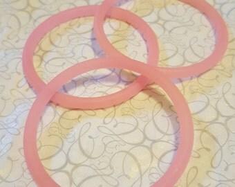 Set of 3 Pink Rubber Bracelets