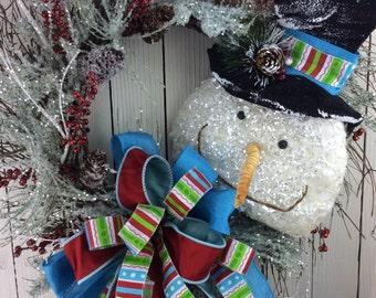 Blue Christmas Wreath, Snow Man Christmas Wreath, Primitive Snowman wreath,Christmas Wreath, Natural Christmas Wreath,Snow Man Wreath
