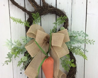 Easter Bunny Wreath,Easter door decor,Bunny door decor, Easter Wreath,Bunny Head Wreath,easter bunny wreath, Double Door Wreath,Bunny Wreath