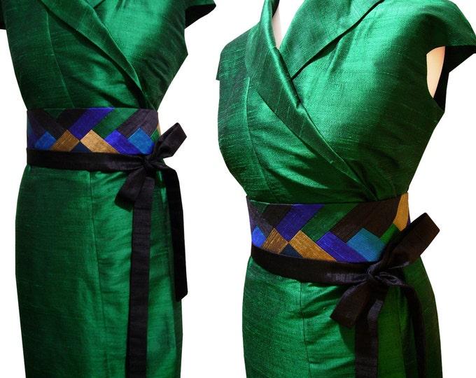 Obi belt sash INTARSIA silk shantung Peacock Mix