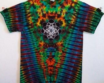 Tie Dye Mandala Psychedelic V Rainbow T-Shirt!
