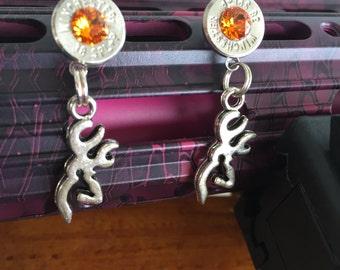 bullet post earrings browning deer swarovski crystal caliber of your choice