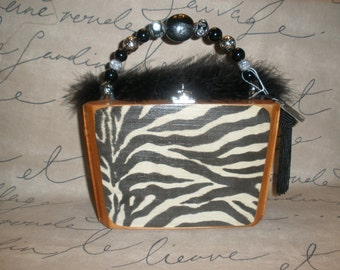Zebra Cigar Box Purse, A. Fuente Best Seller, Wooden, Authentic, Tampa- Must See!