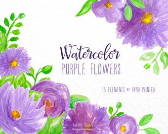Floral Watercolor clipart, flower clipart, purple clip art, flowers, digital clipart, purple clipart, purple clipart, lovely