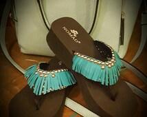 Sample Sale - Turquoise Fringe Flip Flop Size 8 Wedge