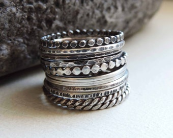 Knuckle Rings, Sterling Silver, Rustic Hammered, Stack Rings, Oxidized Patina, Primitive Thin Band, Midi Ring Faceted Hammered Ticked