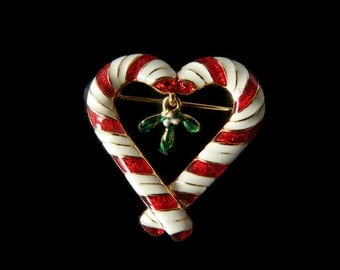 Candy Cane Heart Brooch with Mistletoe Dangle Signed R R