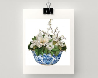 LARGE REPRODUCTION PRINT Magnolias in blue and white bowl -  print of my original watercolour painting