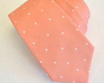 coral mens tie,cotton neckties