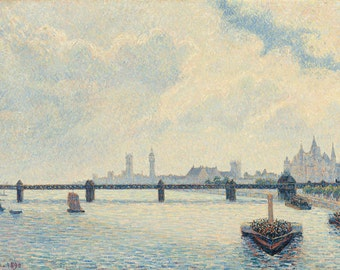"Camille Pissarro : ""Charing Cross Bridge, London"" (1890) - Giclee Fine Art Print"