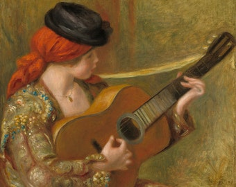 "Pierre-Auguste Renoir : ""Young Spanish Woman with a Guitar"" (1898) - Giclee Fine Art Print"