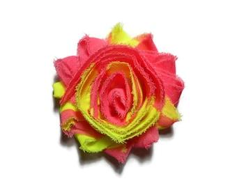 Girls Pink Flower Clip - Flower Hair Clip - Yellow Flower Clip - Shabby Flower Hair Clip - Pink Hair Flower - Yellow Hair Flower