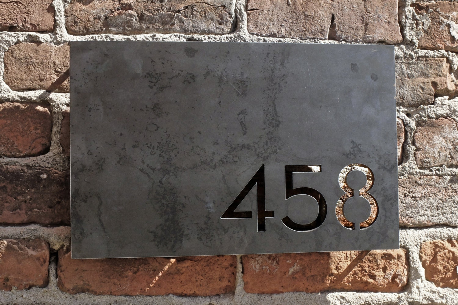 Melrose House Numbers Raw Steel Rectangular Plate