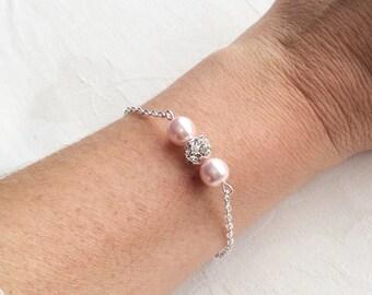 Blush Pearl Bracelet Pink Pearl Jewelry Blush Pink Bracelet Bridesmaids Wedding