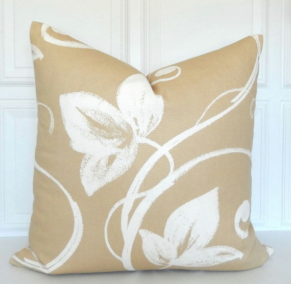 tan pillow cover decorative pillow 20x20 tan and white. Black Bedroom Furniture Sets. Home Design Ideas