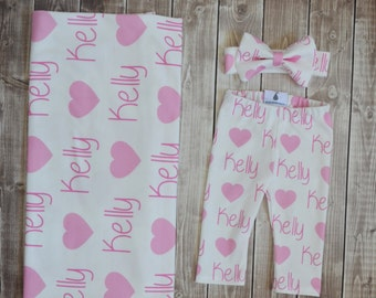 Personalized name leggings, blanket, and bow headband: newborn gift set baby customized name leggings baby gift