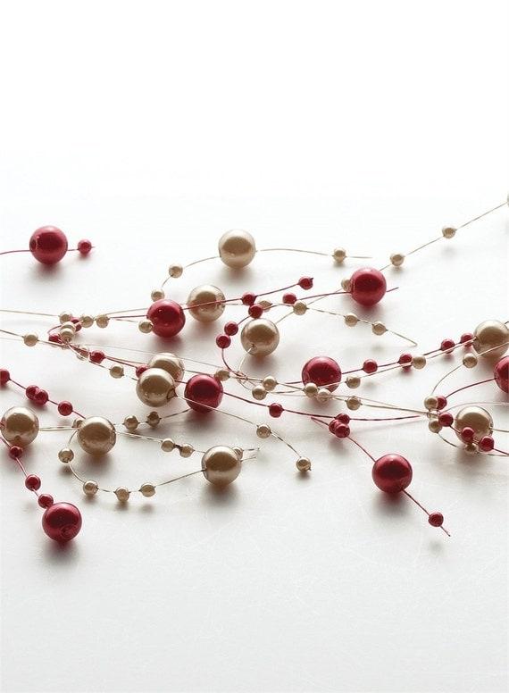 pearl beaded garland spray burgundy gold