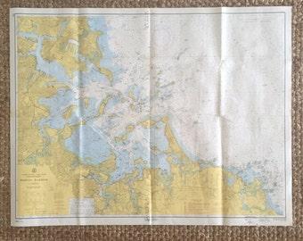 1959 BOSTON HARBOR Large Vintage Nautical Map