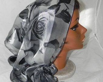 Boho Chic Tichel Hair Snood Head Scarf Pre Tied Bandana Black Gray Silver Floral - 100% Polester