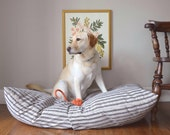 Dog Bed Cover, Custom Personalizable Dog Bed Duvet, Ticking Stripe Large Pet Bed, Round Dog Bed Covers Now Available