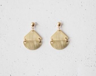 Triangle Semi Circle Brass Earrings
