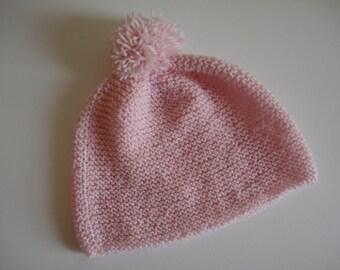 Pink Merino wool baby hat