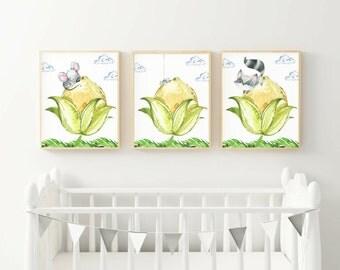Woodland Creatures Nursery Prints, Set of Three Instant Download, Printable Nursery Decor Bundle, Nursery Art, 8x10 Digital Prints
