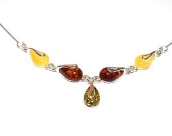 sterling silver and natural baltic amber necklace