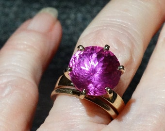 Pink Sapphire Ring 5 Carat Solitaire Engagement 14K Gold