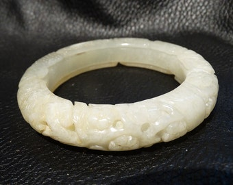 Antique Nephrite Bangle Carved Jade Qing Dynasty 58 mm